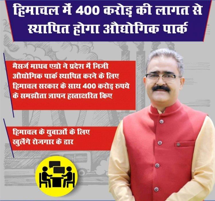 प्रदेश में स्थापित होगा 400 करोड़ रुपये का औद्योगिक पार्क ddnewsportal.com